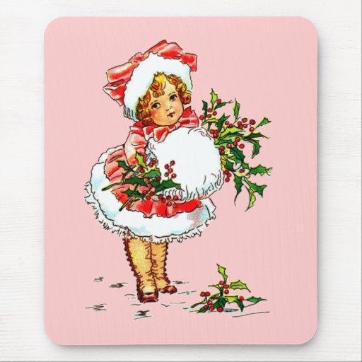 Adorable Vintage Christmas Child Mousepads