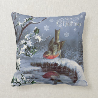 Adorable vintage Merry Christmas pillow with bird!
