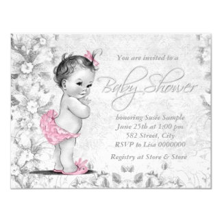 Adorable Vintage Pink and Gray Baby Shower 11 Cm X 14 Cm Invitation Card