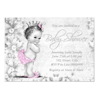 Adorable Vintage Pink and Gray Baby Shower 13 Cm X 18 Cm Invitation Card