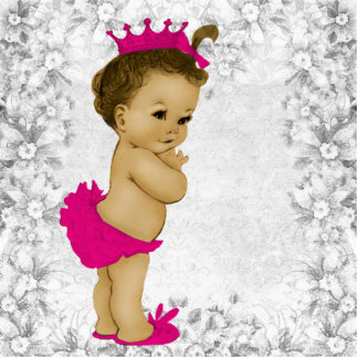 Adorable Vintage Pink Baby Girl Shower Photo Cut Out
