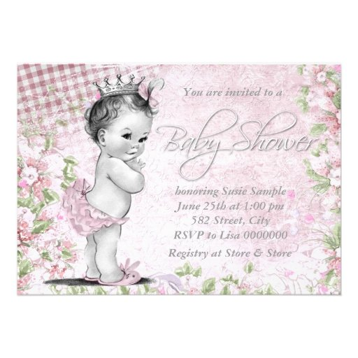 Adorable Vintage Pink Baby Shower Custom Announcement