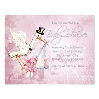 """Adorable Vintage Pink Stork Baby Shower 4.25"""" X 5.5"""" Invitation Card"""