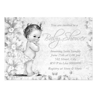 Adorable Vintage White Baby Shower Custom Announcements