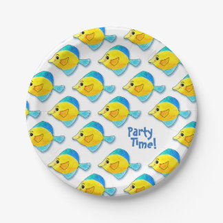 Adorable Watercolor Blue and Yellow Fish Pattern 7 Inch Paper Plate