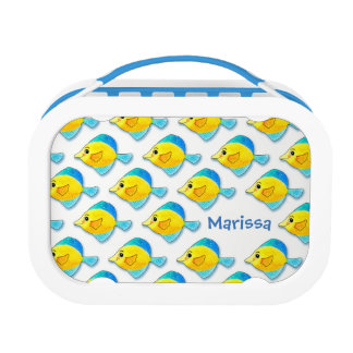 Adorable Watercolor Blue and Yellow Fish Pattern Lunchboxes