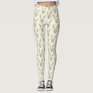 Adorable Watercolor Deer Reindeer Leggings CREAM