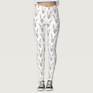 Adorable Watercolor Deer Reindeer Leggings White