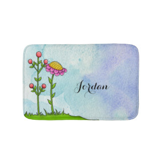 Adorable Watercolor Doodle Flower Bathmat