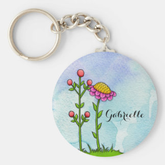 Adorable Watercolor Doodle Flower Keychain
