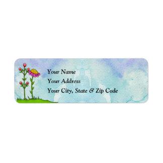 Adorable Watercolor Doodle Flower Label