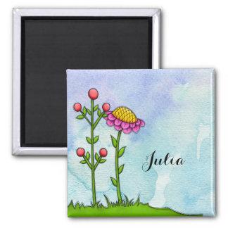 Adorable Watercolor Doodle Flower Magnet