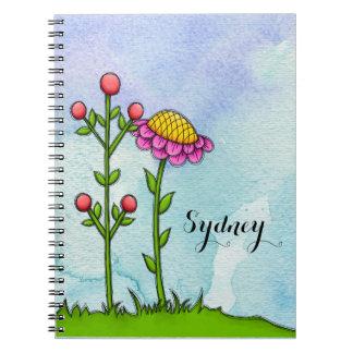 Adorable Watercolor Doodle Flower Notebook
