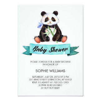 Adorable Watercolor Panda Baby Shower 13 Cm X 18 Cm Invitation Card