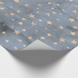 Adorable watercolor twinkle gold star lavender wrapping paper