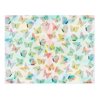 Adorable watercolors paint butterflies pattern postcard