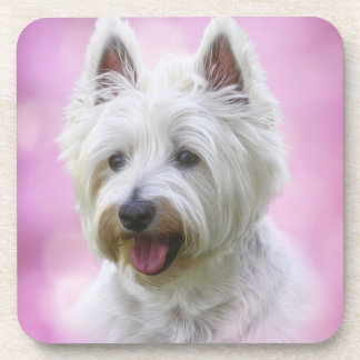 Adorable west highland white terrier coaster
