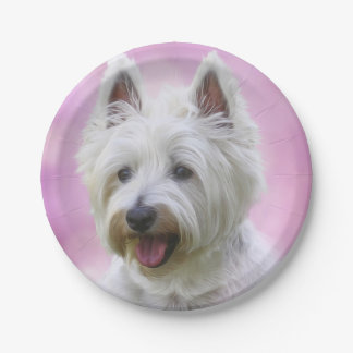 Adorable west highland white terrier paper plate