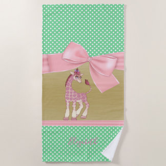 Adorable Whimsical Cartoon Giraffe   -Personalized Beach Towel