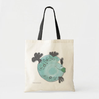 Adorable Whimsical Fish Art Blue and Green Tote Bag