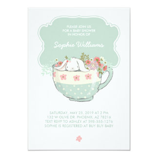 Adorable White Bunny in a Tea Cup Baby Shower Card