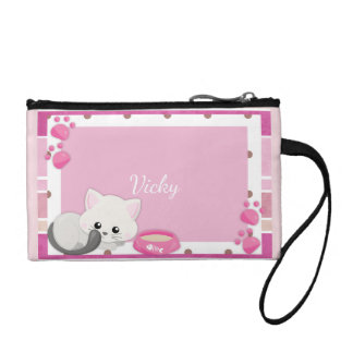 Adorable White Kitten Personalized Coin Purse
