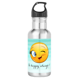 Adorable Winking Smiley Emoji Face-Be happy always 532 Ml Water Bottle