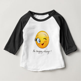 Adorable Winking Smiley Emoji Face-Be happy always Baby T-Shirt