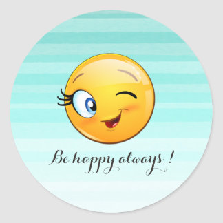 Adorable Winking Smiley Emoji Face-Be happy always Classic Round Sticker