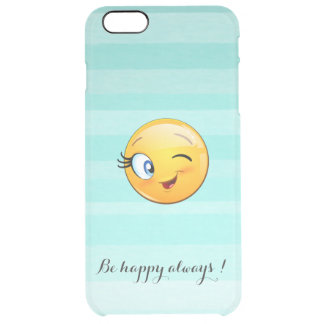 Adorable Winking Smiley Emoji Face-Be happy always Clear iPhone 6 Plus Case