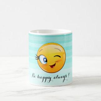 Adorable Winking Smiley Emoji Face-Be happy always Coffee Mug