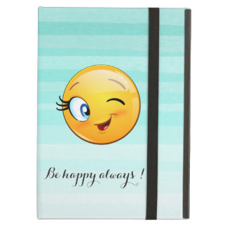 Adorable Winking Smiley Emoji Face-Be happy always iPad Air Cases