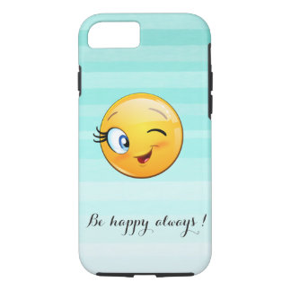 Adorable Winking Smiley Emoji Face-Be happy always iPhone 8/7 Case