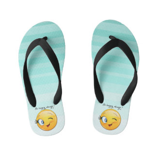 Adorable Winking Smiley Emoji Face-Be happy always Kid's Thongs
