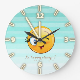 Adorable Winking Smiley Emoji Face-Be happy always Large Clock