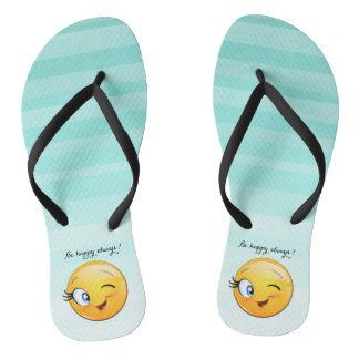 Adorable Winking Smiley Emoji Face-Be happy always Thongs
