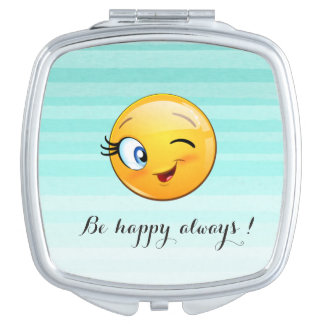 Adorable Winking Smiley Emoji Face-Be happy always Vanity Mirrors