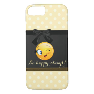 Adorable Winking Smiley Emoji Face,Polka Dots iPhone 8/7 Case