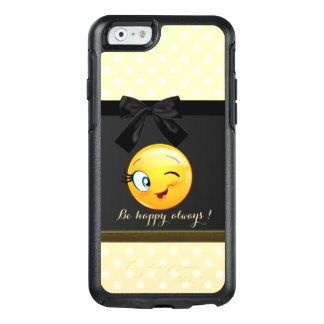 Adorable Winking Smiley Emoji Face,Polka Dots OtterBox iPhone 6/6s Case