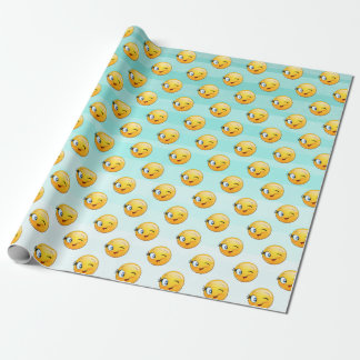 Adorable Winking Smiley Emoji Face Wrapping Paper