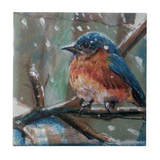Adorable Winter Blue Bird Ceramic Photo Tile