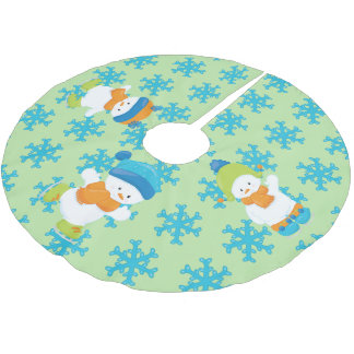 Adorable Winter Theme Snow Babies Brushed Polyester Tree Skirt