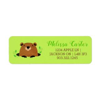 Adorable Woodland Groundhog Pattern Return Address Label