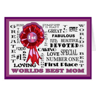 Adorable Word Collage Front Worlds Best Mom Card#3 Card