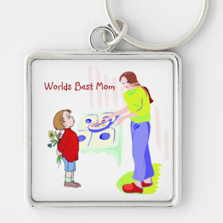 Adorable Worlds Best Mom Key Ring Silver-Colored Square Key Ring