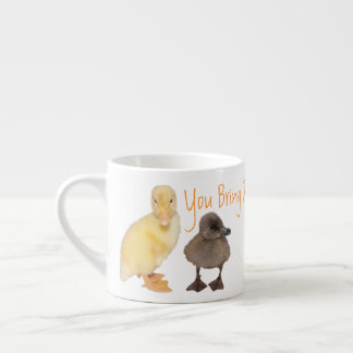 Adorable Yellow and Gray Duckling Photographs Espresso Cup