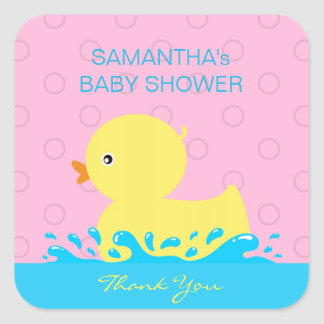 Adorable Yellow Blue Pink Rubber Ducky Baby Shower Square Sticker