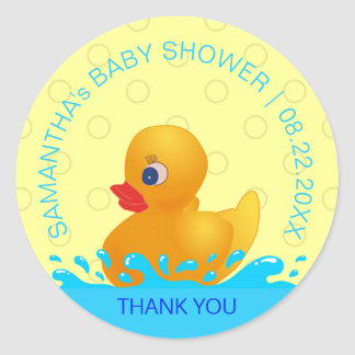 Adorable Yellow Blue Rubber Ducky Baby Shower Classic Round Sticker