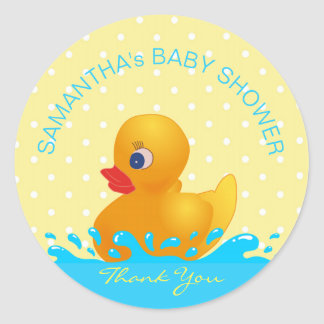 Adorable Yellow Blue Rubber Ducky Baby Shower Round Sticker