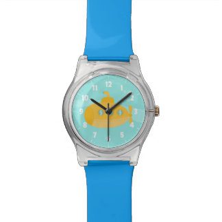 Adorable Yellow Submarine with bubbles for kids Wristwatches